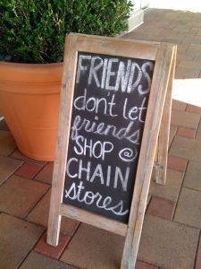 Friends shopping sign