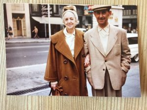 My grandparents, Peggy and Jim Hutchison, visiting my husband and me in San Francisco. When I complained about being too cold all the time (even though we all came from Montreal), my grandmother gave me this Balenciaga cocoon coat off her back.
